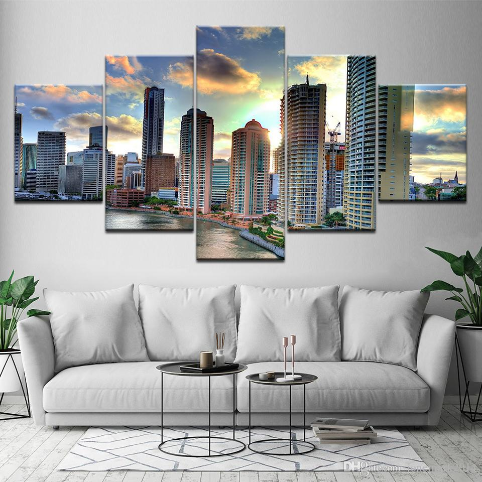 Canvas Painting Brisbane City Landscape 5 Pieces Wall Art Painting Modular Wallpapers Poster Print for living room Home Decor