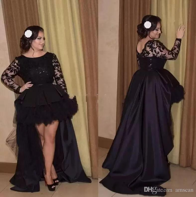 Black High Low Lace Prom Dresses Long Sleeves A Line Formal Party Dress Plus Size Special Occasion Dress For Women Long Evening Dress