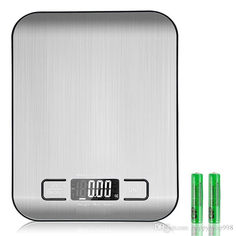 5000g 1g Digital Kitchen Scale Multifunction Electronic Food Scale for Baking and Cooking Stainless Steel Platform LCD Display Tare Function