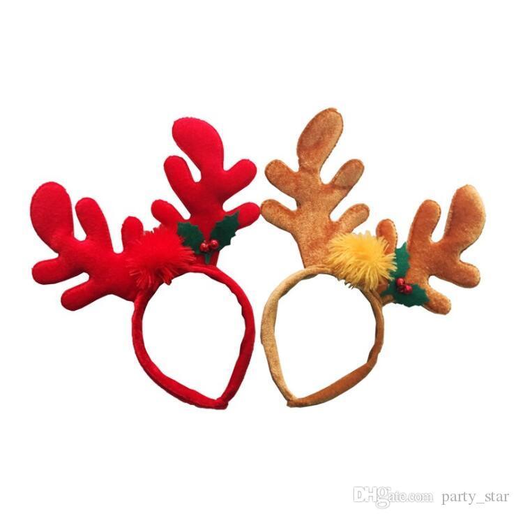 Sıcak Pamuk Doldurma Noel Boynuz Kafa Bandı Kırmızı Kahverengi Yetişkin Çocuk Parti Kişilik Bandı Süslemeleri Noel Malzemeleri