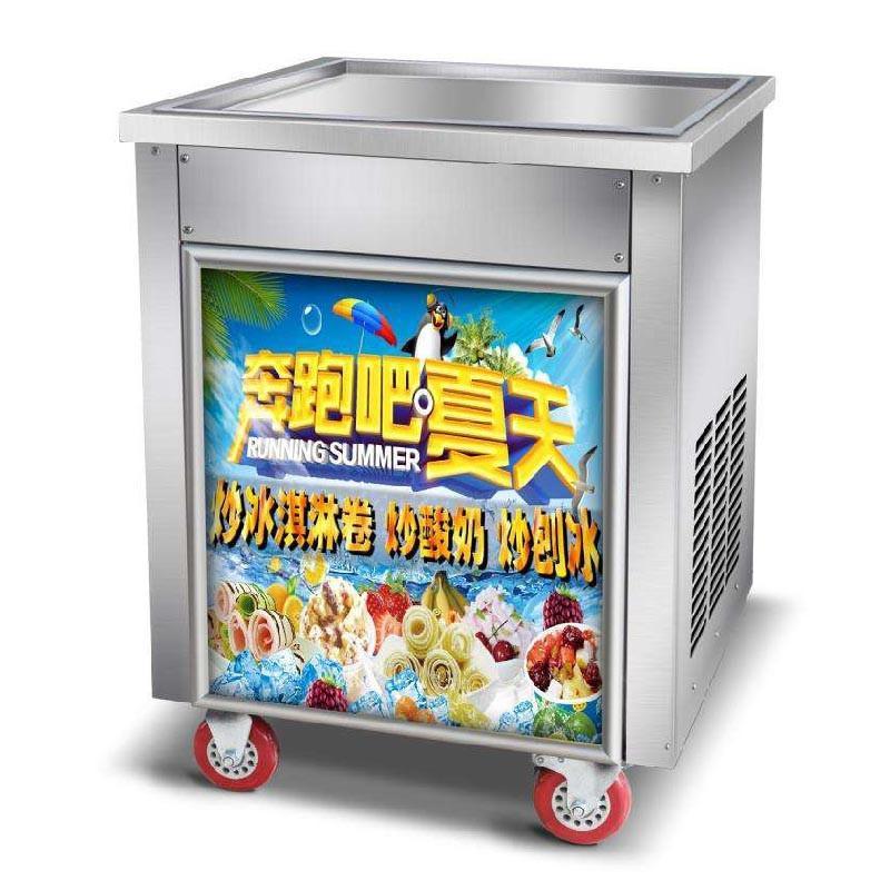 Único Pot comercial Fried Ice Cream Máquina de gelo industrial Frying Máquina de rolo Ice Cream Maker Preço