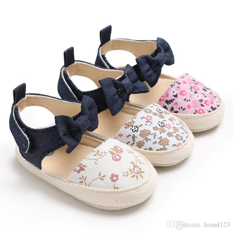 Flower printing baby sandals nonslip soft sole baby girls sandals Cotton Fabric summer baby shoes cute bow party shoes