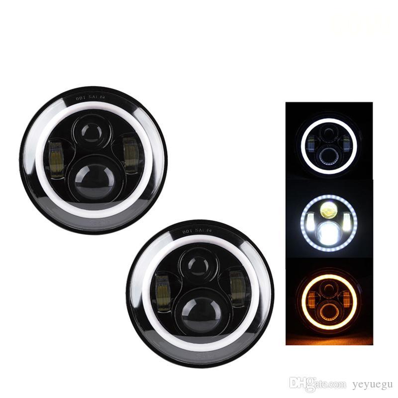 "1Pcs 7"" led headlight 80w 7inch round Car led headlamp with hi-lo beam amber DRL for harley moto Jeep Wrangler Hummer"