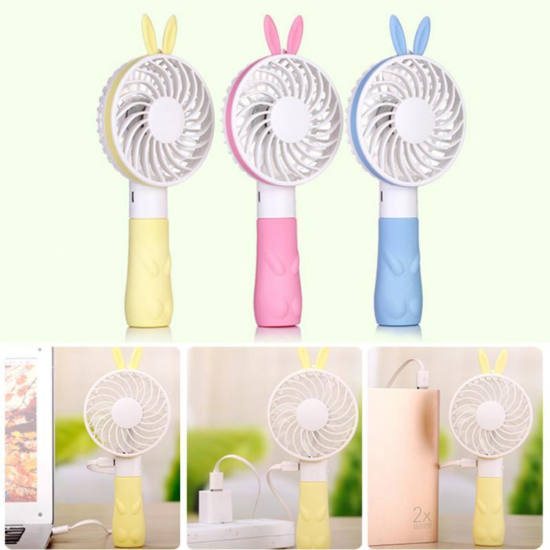 2 gear Cartoon Bear/rabbit Mini fan USB Rechargeable DC 5V 1000MA Princess Rabbit Handheld Fan