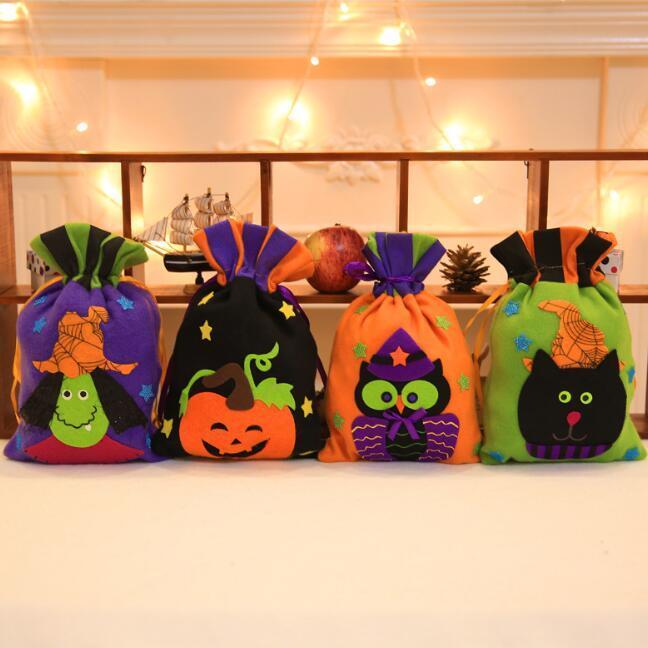 Halloweenowa śliczna sznurka dyniowa projektować torbę sztuczka lub traktować cukierki przekąska Goodie Torebki kieszeń dla Halloween Cosplay kostiumy