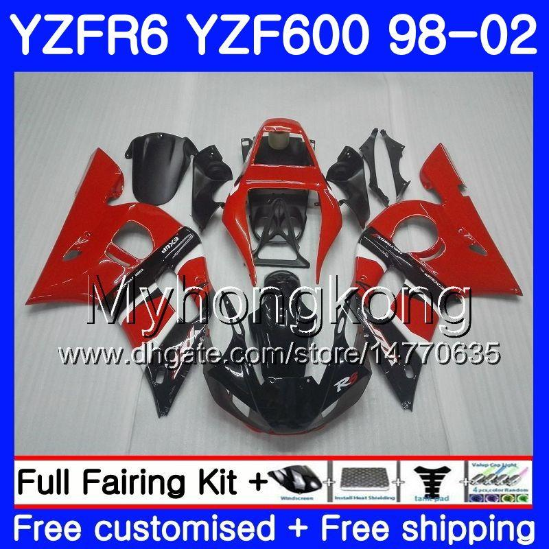 Corpo per Yamaha YZF R6 98 YZF600 YZFR6 98 99 00 01 02 230HM.0 YZF 600 YZF-R600 YZF-R6 1998 1999 2000 2001 2002 FACURA FACCUPA RED BLACK