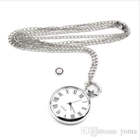 OUTAD 새로운 1pcs 쿼츠 라운드 회중 시계 다이얼 빈티지 목걸이 실버 체인 펜던트 골동품 스타일 개성 예쁜 선물