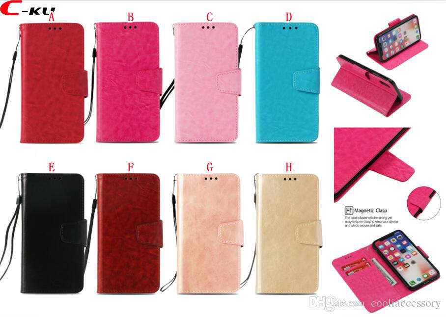 إلى iPhone X XS MAX XR Samsung Galaxy A70 S10E S10 PLUS Note 9 Huawei Honor 10i 8A Retro Strap Wallet جلد Case ID Card Crazy Horse Cover