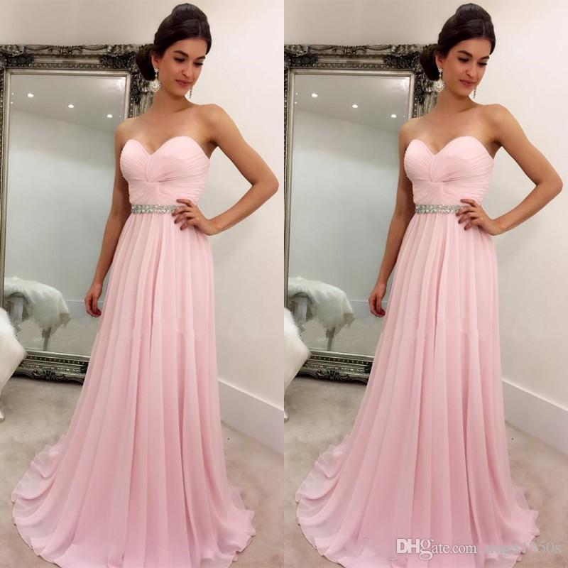 Compre 2018 Rosa Prom Dressess Simple Elegante Barato Vestido De ...