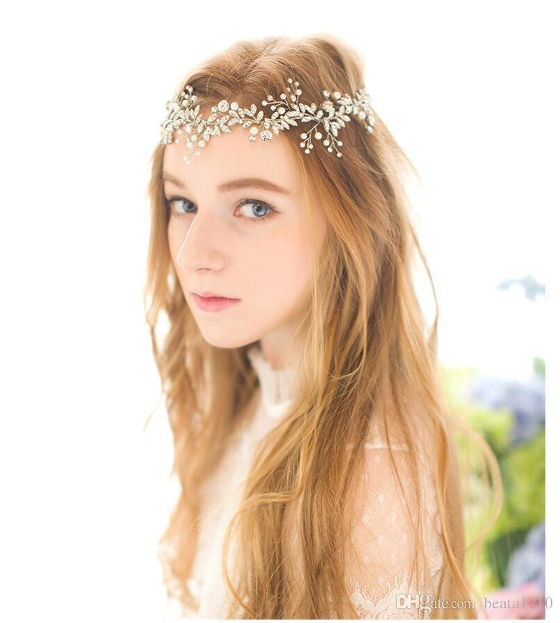 2019 Wedding Hair Accessories 2018 New Hot Headbands For Women Hairstyles Romantic Hair Bands Rhinestone Pearl Handmade Gold Silver From Beata1210