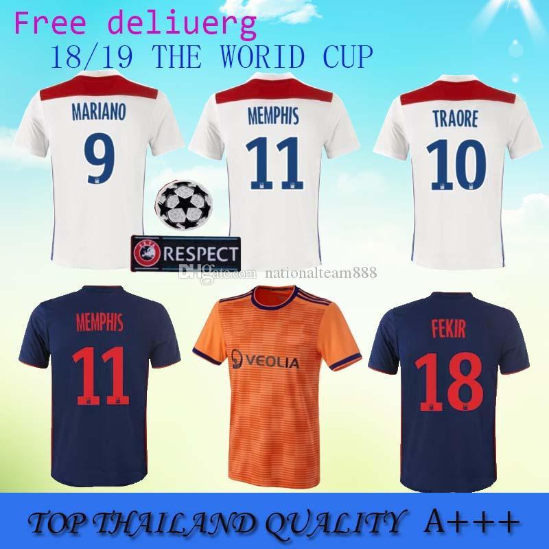 Ligue 1 Jersey De Fútbol Lyon FC Men 10 Bertrand Traore 18 Nabil Fekir 9 Mariano Diaz Camiseta De Fútbol Kits Custom Name Number White Por ...