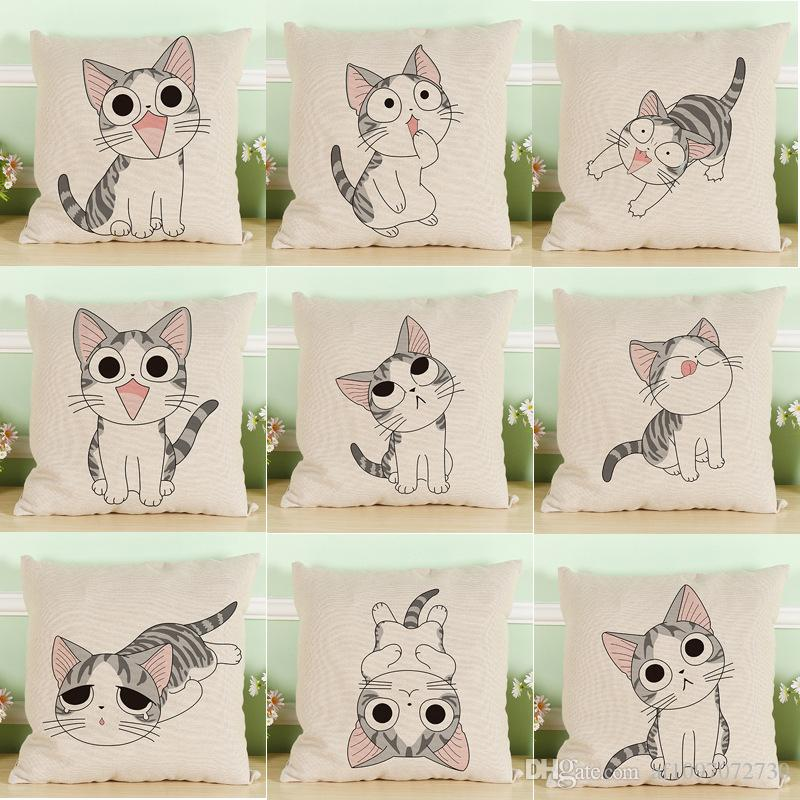Cartoon Cheese Kitte Series Pillow Covers 13 Styles Company Promotional Advertising Gift Can Be Printed Logo Free Customized Any Pattern R45
