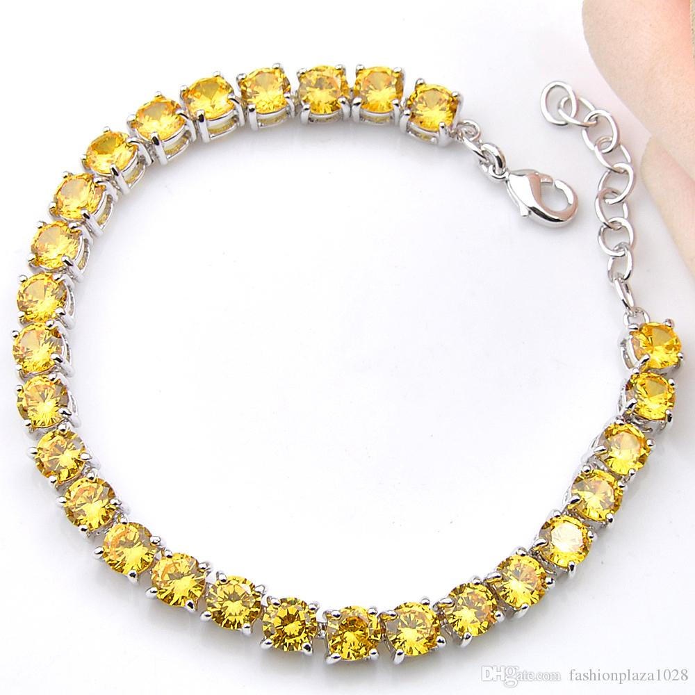 "NEW Friend Gifts 5mm Yellow Round Brazil Citrine 925 Sterling Silver Plated For Women Zircon Bangle Bracelet 8""inch Free shipping"