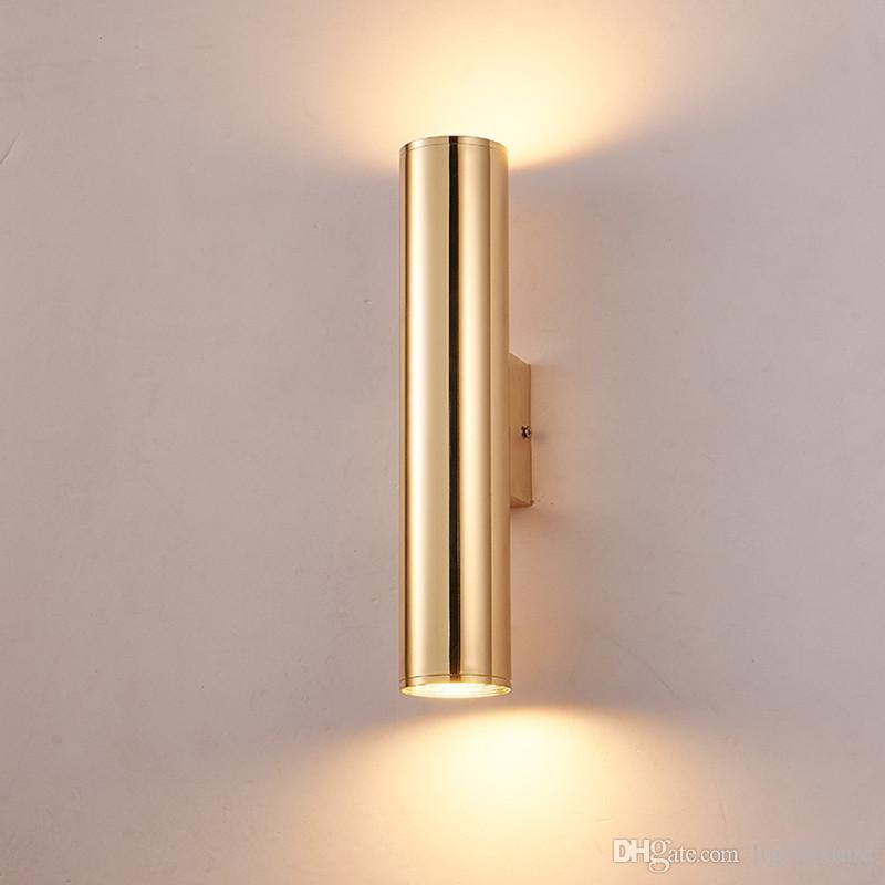 Alüminyum Boru Duvar Lambaları Altın Başucu Işık Vintage Metal Duvar Aplik Endüstriyel Koridor Loft LED Duvar Işık Fikstür Yüksekliği 30 cm / 50 cm
