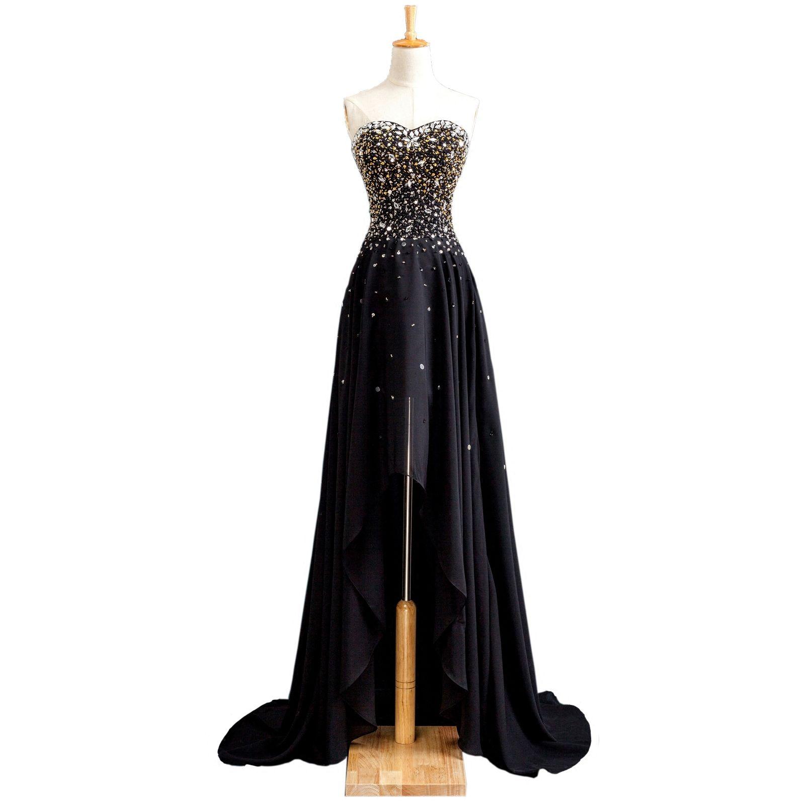 파란색 된 연인 시폰 댄스 파티 드레스 2019 새로운 높은 낮은 파티 드레스 블랙 댄스 파티 가운 레이스 업