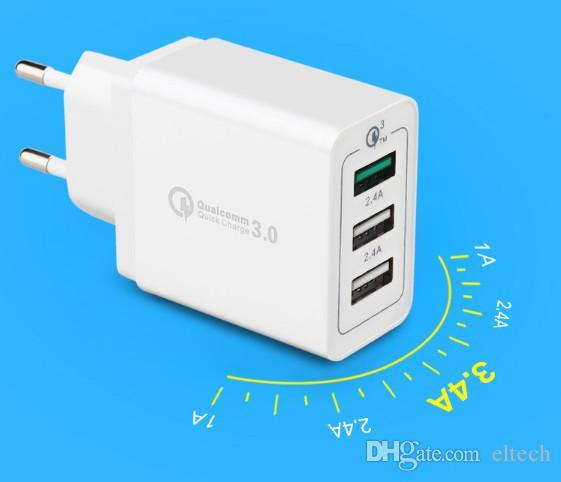Caricatore rapido per telefono cellulare QC3.0 Caricabatterie rapido compatibile USB per Samsung Xiaomi