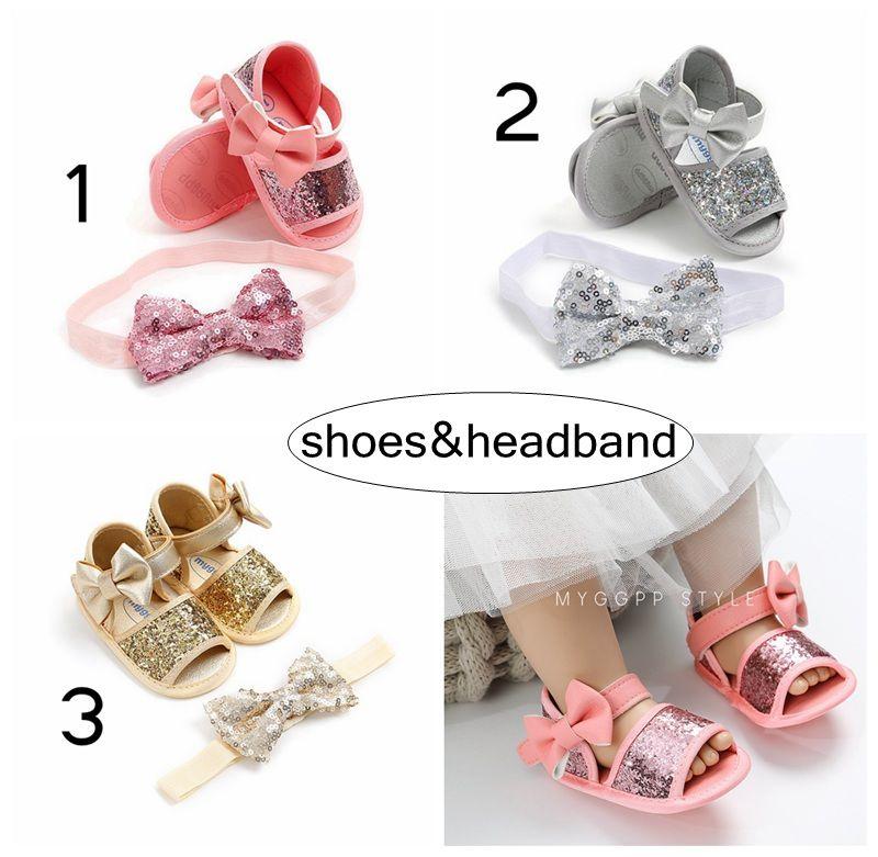 Nya Babyskor 2PC Set Spädbarn Sequins Walking Shoes With Headband Kids Paillette PU Sandaler Nyfödda Big Bow Headband 0-2Years Free Ship