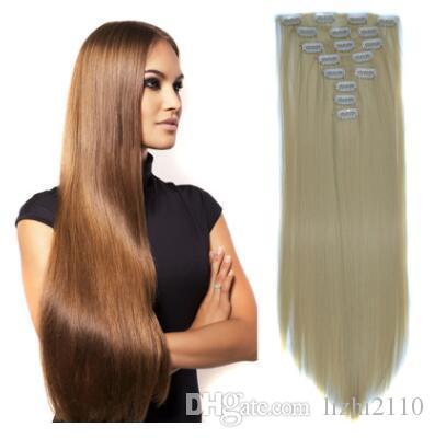 Fibre chimique pour femmes européennes et américaines recevant et envoyant le film 17 pince 7 pièce de cheveux longs et raides pince à cheveux dans 8 ensembles d