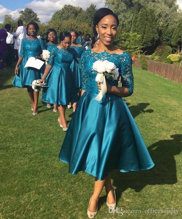 Ucuz Zarif Kısa Gelinlik Modelleri Düğün Deniz Teal Saten Dantel Yarım Kollu Çay Boyu Artı Boyutu Örgün Hizmetçi Onur Törenlerinde Özel Yapılmış