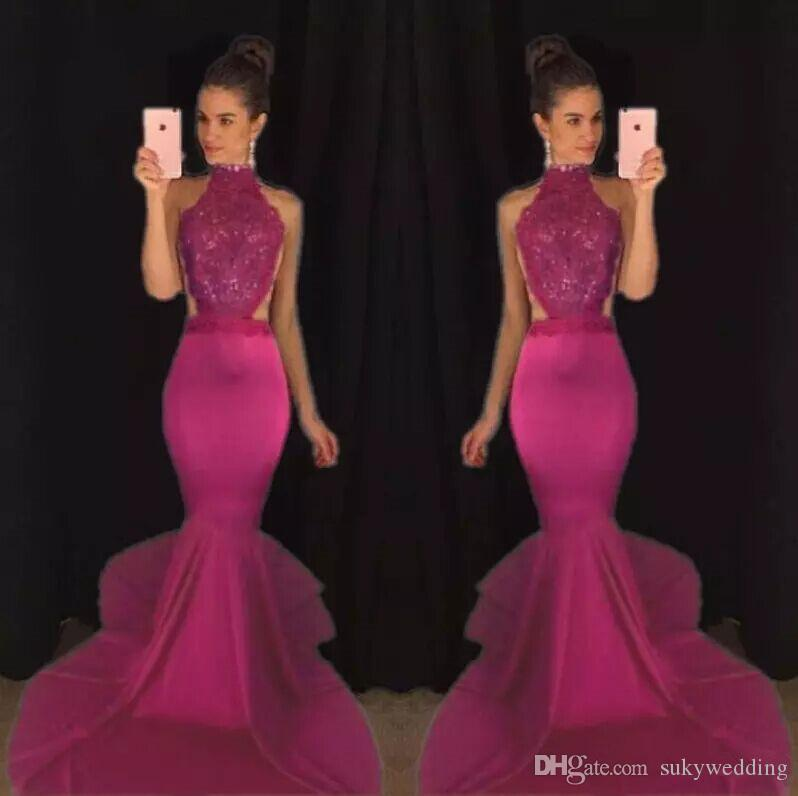 Elegant Lace Prom Dresses Mermaid Evening Formal Gowns Long Sweep Train Open Back Party Gowns Abendkleider