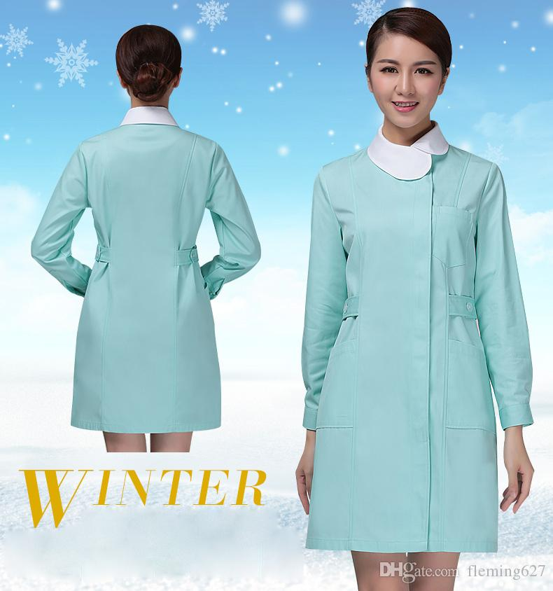 Good Quality Autumn and winter thickening long-sleeve nurse clothing Women Pink and Green coat nurse clothing Hospital Medical work uniforms
