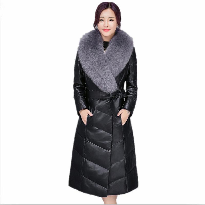Leather fur coat 2018 autumn and winter new hair sheep skin long section ladies leather down jacket women Large size M-4XL