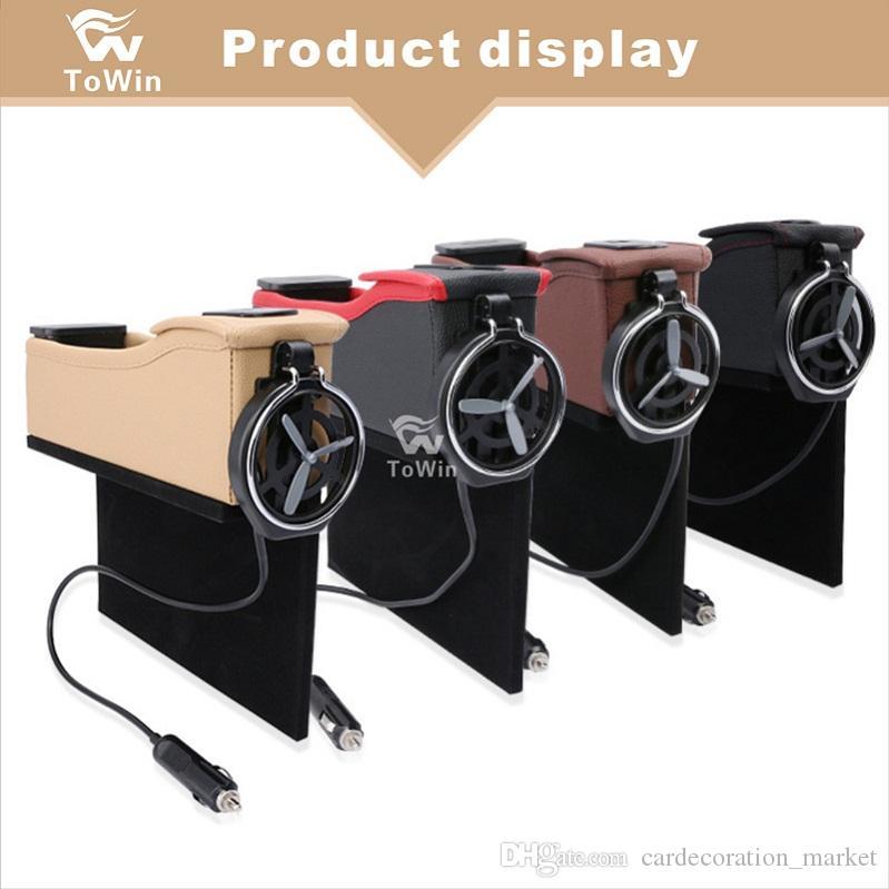Multifunktionsautositz organisieren, Box-Organizer, Konsole-Seitentaschen-Münzhalter 2 USB-Anschlüsse, Seat Filler Gap Handys, Schlüssel, Karten, Brieftaschen.