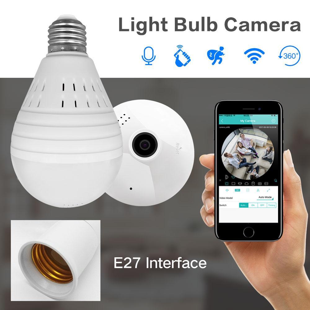 960P 360 Degree Wireless IP Camera Fisheye Panoramic Surveillance Security Camera Wifi Night vision Bulb Lamp CCTV Camera P2P