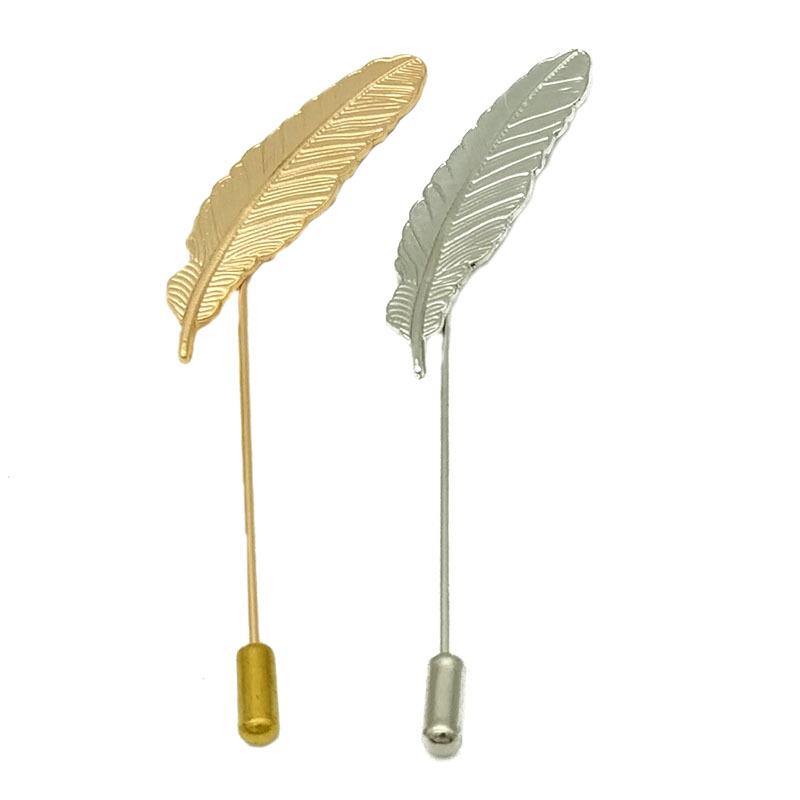Unisex Men Leaf Feather Brooch Pins Collar Suit Stick Breastpin Lapel Pin Accessories For Gift Wholesale 12Pcs D18102905