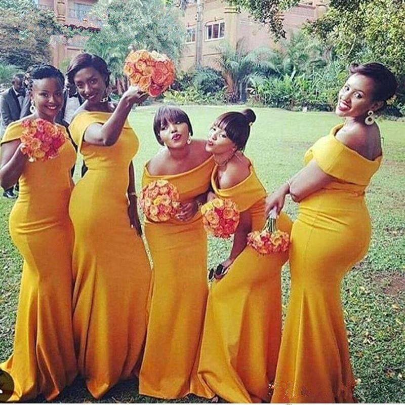 2019 Plus Size Sirena Abiti da damigella d'onore ragazza nera africana Bateau Neck Nigeria Giallo increspato Sweep Train abiti africani Vestidos