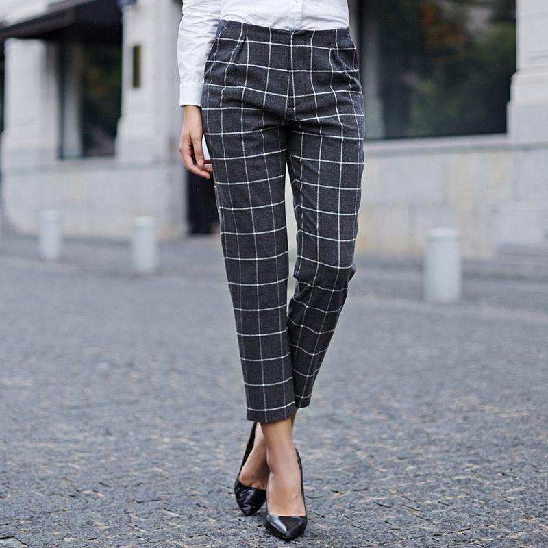 Acheter Pantalons écossais à Carreaux De Style Anglais Veri Gude Pour Femmes Pantalons Droits Pour Les Femmes Dautomne Pantalons à Carreaux Et à