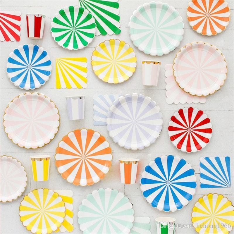 Joyeux anniversaire Décoration Art de la table Set jetable Stripe feuille d'or bébé Papier de soie Coupe de la plaque serviette douche Faveur Party alimentation 26 5yz BB