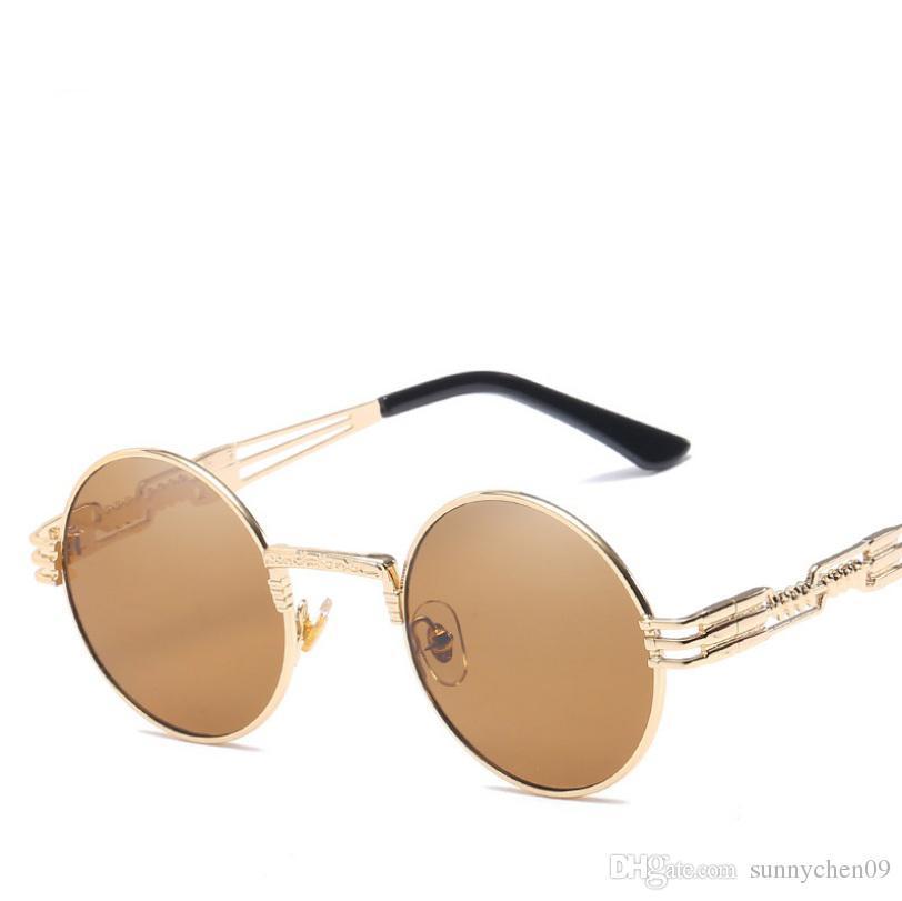 Gafas de sol redondas ópticas de metal de alta calidad Steampunk Hombres Mujeres Gafas de moda Diseñador de la marca Retro Vintage Sunglasses UV400