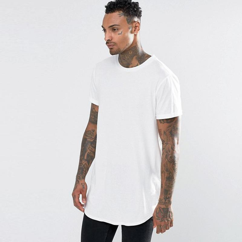 ALL new Men's T Shirt Extended T-Shirt Men's clothing Curved Hem Long line Tops Tees Hip Hop Urban Blank Justin Bieber Shirts