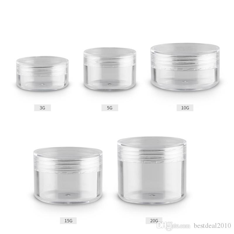 3g 5g 10g 15g 20g Clear Transparent Plastic Small Cream Jars Empty Cosmetic Containers Jar For Cosmetics Makeup Case