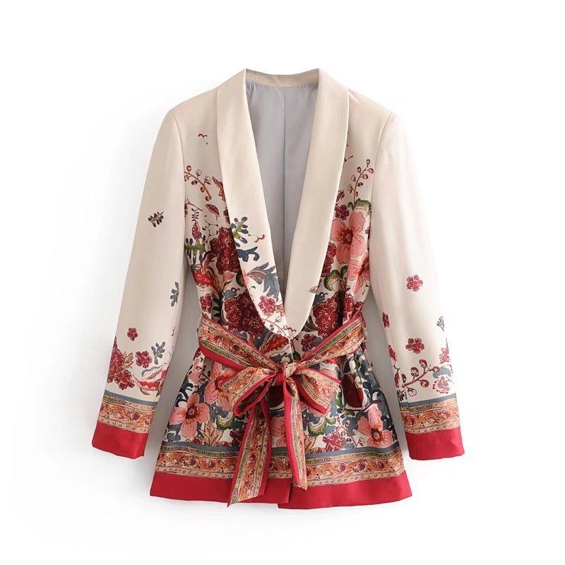 Primavera Autunno Donna Vintage Red Floral stampa Kimono giacca donna vita bowknot ante Outwear business office lady wear Coat