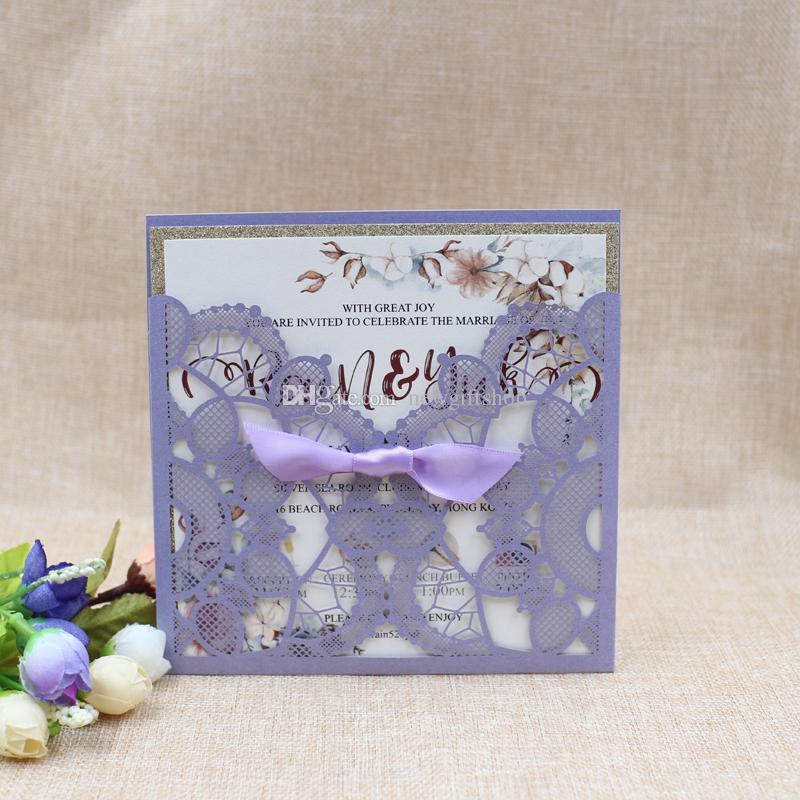 Lace Wedding Invitation with Ribbon 2019 Violet Laser Cut Pocket Invitation Cards for Wedding Party Glitter Evening Invitation Free Print