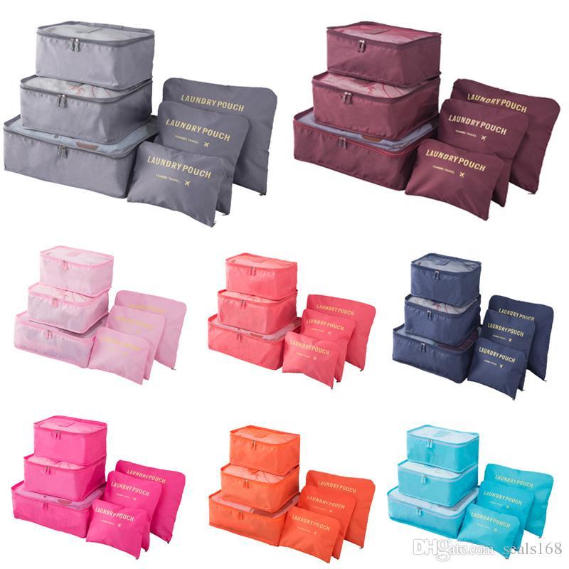 Reise Make-up Tasche Startseite Gepäckaufbewahrung Kleideraufbewahrung Organizer Portable Kosmetiktaschen Bra Unterwäsche-Beutel-Speicher-Beutel 6pcs / Set HH7-1300