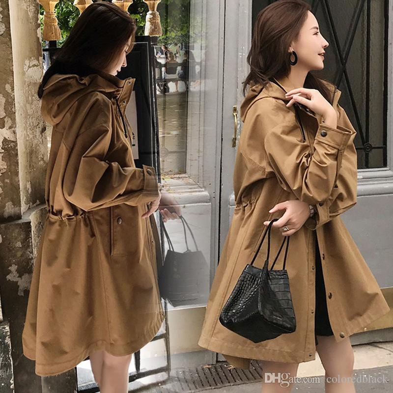 Spring Korean Long Windbreaker For Women New Fashion Brown Jackets Hooded Casual Outwear Coat Long Sleeve Warn Clothes