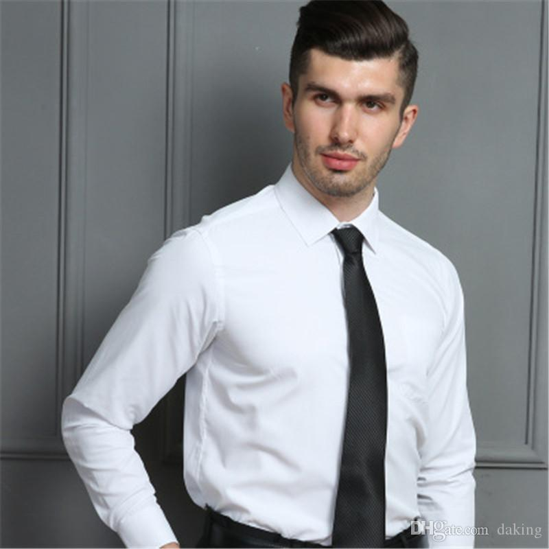 Hommes d'affaires shirt Europe US bonne marque de haute qualité tour de coton vers le bas Boutons de col à manches longues Hauts noir chemisier blanc