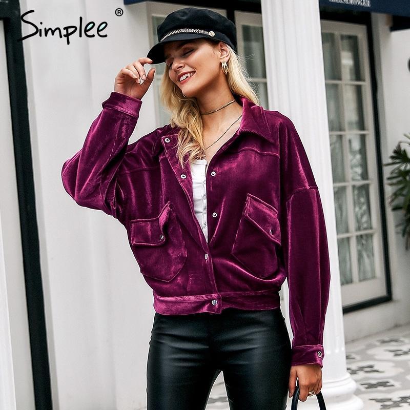 Simplee velours côtelé simple boutonnage vestes femmes hiver poches avant chauds manteaux épais automne doux rose casual veste high street S18101203