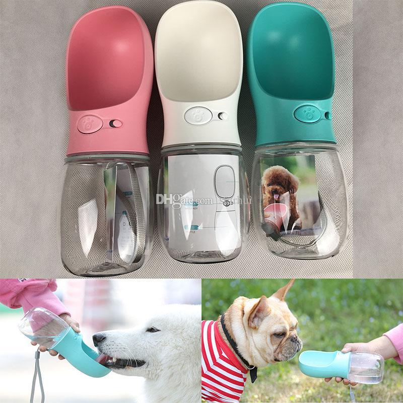 Pet Dog Water Bottle ABS Pet Cat Beber Alimentador Taza de agua en viajes al aire libre 350 ML 550 ML Pet Supplies 3 colores WX9-724