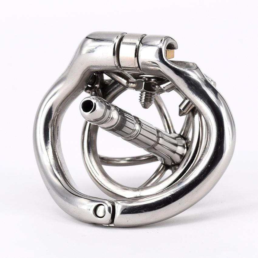 Dispositif magique Nouveaux appareils SexuelStoys avec la chasteté Arc Bague en acier inoxydable Homme Spects Spikes Serrure petit pour la cage pour les hommes anti-xupj