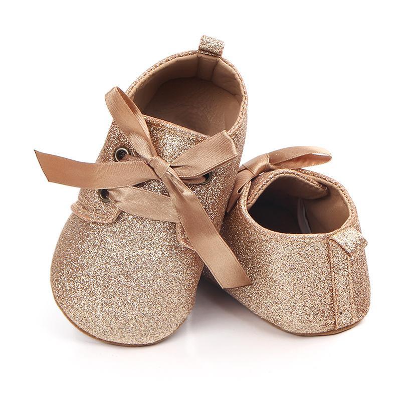 Bébé filles paillettes princesse chaussures de bébé en dentelle sangles premiers marcheurs chaussures de fond nouveau-né Bebe