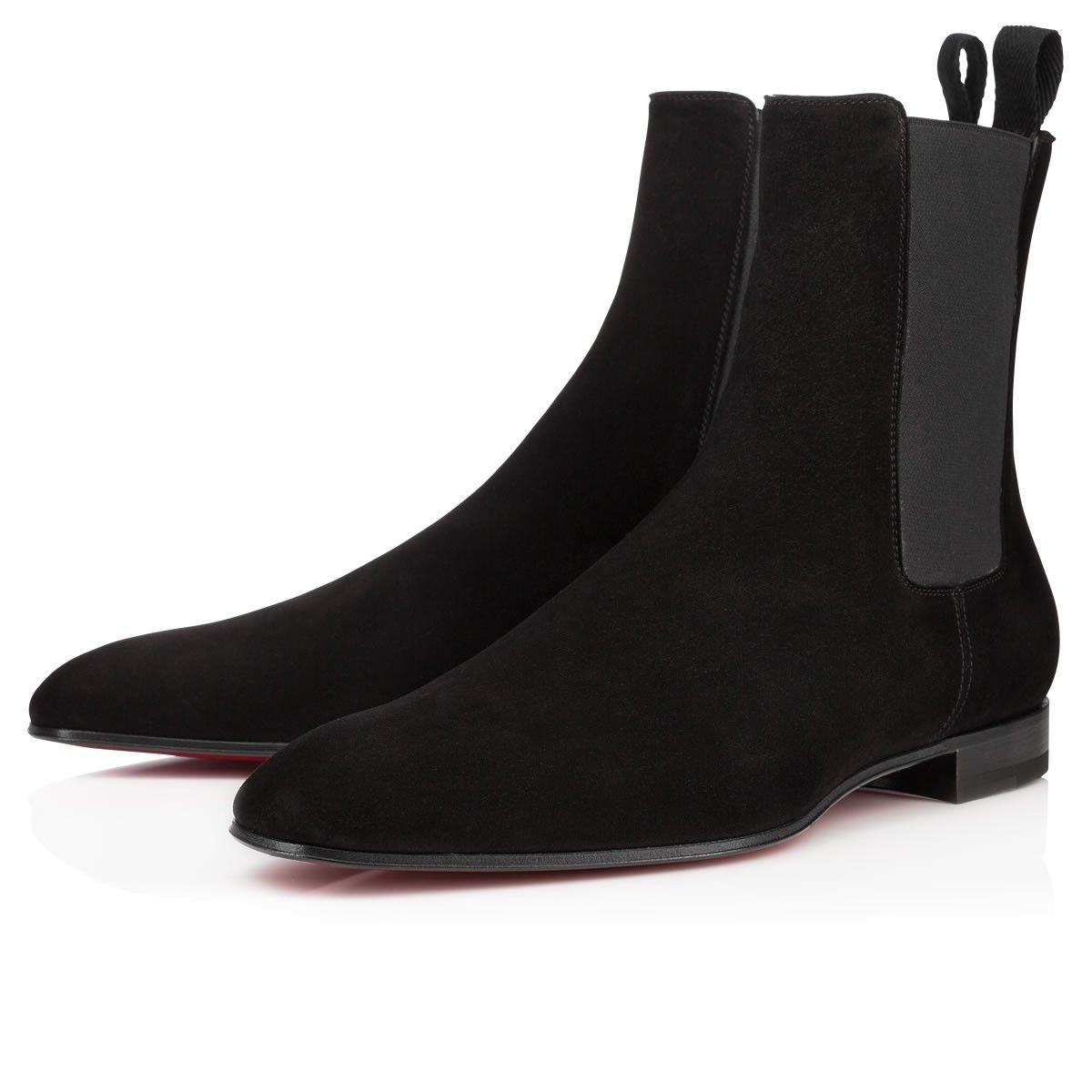 패션 우아한 비즈니스 디자이너 남성 블랙 가죽 나이트 부츠 하이 탑 레드 하단 부츠, 브랜드 평면 발목 부츠 캐주얼 신발