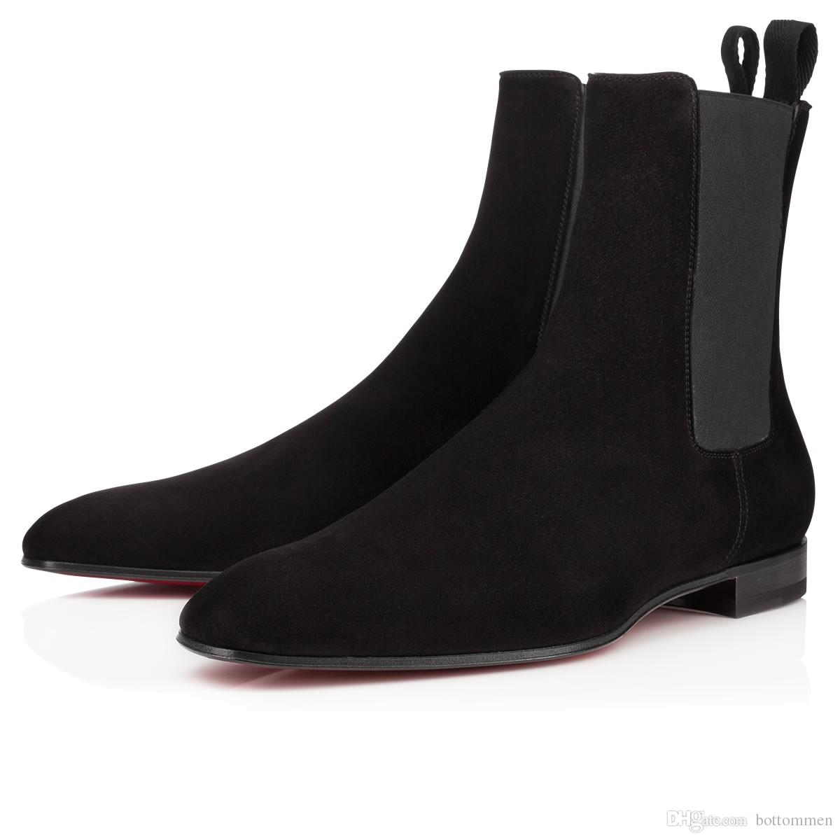 Модные элегантные бизнес-дизайнерские мужские черные кожаные рыцарские сапоги с высоким верхом красные нижние сапоги, брендовые плоские ботильоны Повседневная обувь