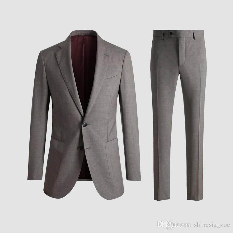 2019 Grey Custom Slim Fit Mens Business Suit (Jacket + Pants) Handsome Men's Suits Hot Sell Wedding Suits Groom Custom