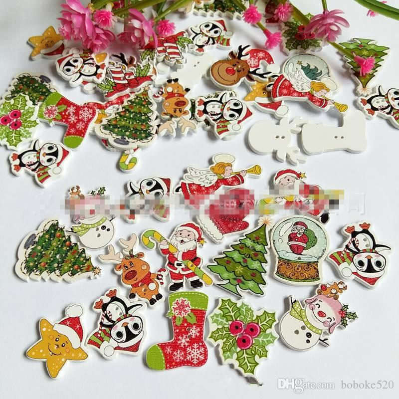 500 unids / lote Random Mezclado de Navidad Pintado Botón de Dibujos Animados Botones de Madera DIY Costura Scrapbooking Ropa Accesorios de Navidad