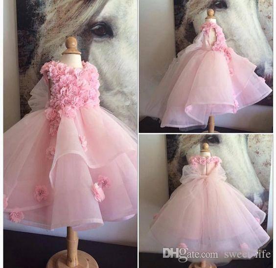 Pink Hand Made Floral 2K18 Vestido de bola Vestidos de flores para bodas Con cuentas Vestidos de baile Vestidos para niñas Primera comunión de flores