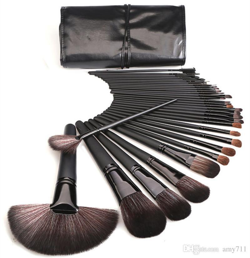 New Makeup Brushes Makeup Tools 32pcs Professional Brush sets Horse Hair Black High Quality DHL shipping+Gift